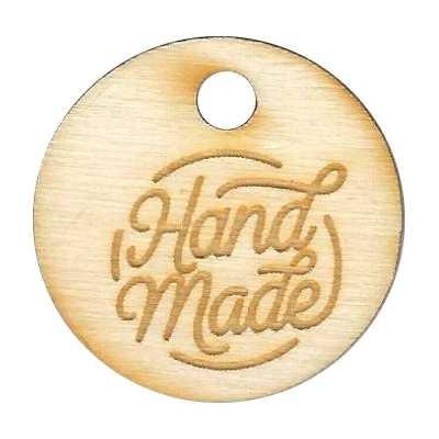 Holzlabel, Holzanhänger HANDMADE Ø 28mm rund