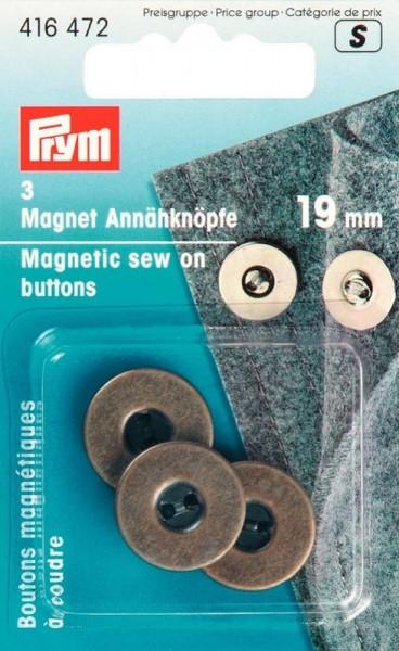 Magnet-Annähknöpfe 19mm altmessing PRYM 416472