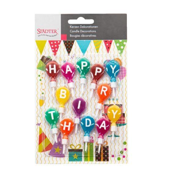 "Kerzen Set ""HAPPY BIRTHDAY"" Schriftzug Farbig"
