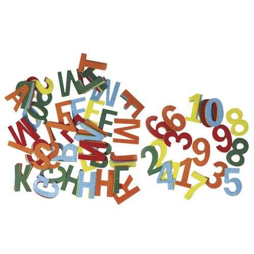 Filz-Buchstaben und Zahlen in 5 Farben