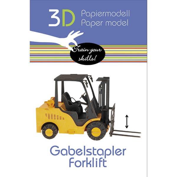 """3D Papiermodell """"Gabelstapler"""" zum zusammenbauen"""
