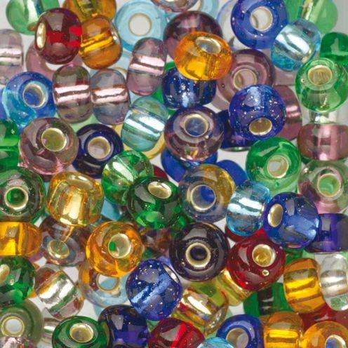 Glas Indianerperlenmix 100g, Silberzug bunt gemischt Ø 4,5 mm