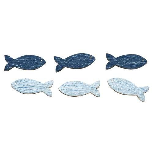 Holz Streuteile Fische mit Klebepunkt