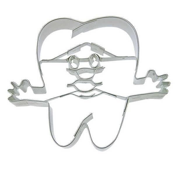 Präge-Ausstechform Zahn mit Gesicht 7 cm aus Edelstahl