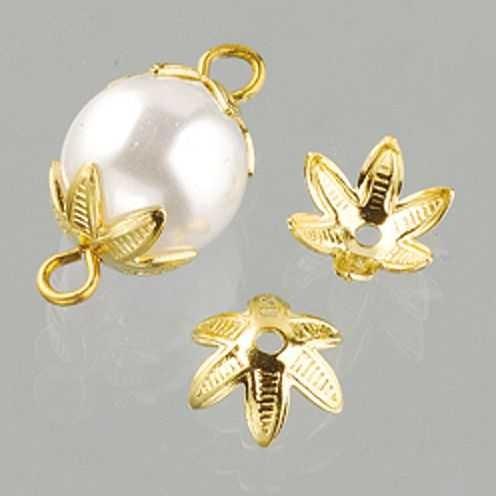 Perlkappen, Schmuckkappen für ø 10 mm Perlen, 12 Stück