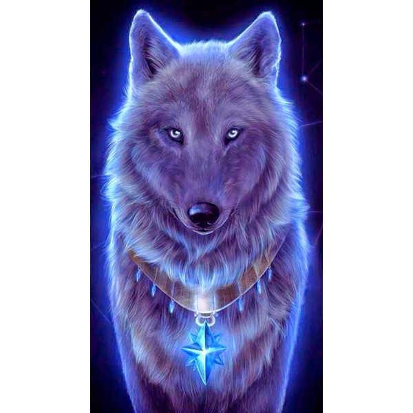 Diamond ART, Daimond Painting 40x30cm, Wolf bei Nacht