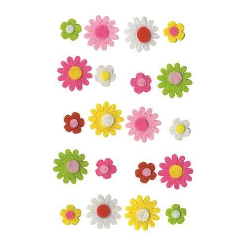 Filzblüten 20 Stück, Ø 12-20mm