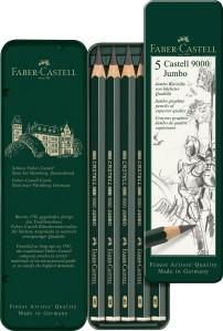 Castell 9000 Jumbo Bleistifte 5er Set, HB bis 8B