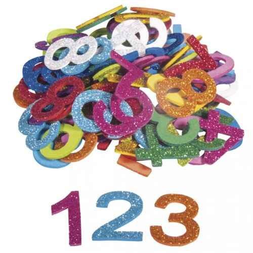 Moosgummi Zahlen Glitter 3cm, selbstklebend, 100 Stück