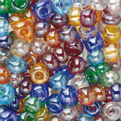 Glas Indianerperlenmix transparent Luster bunt 100g Ø 6,0 mm