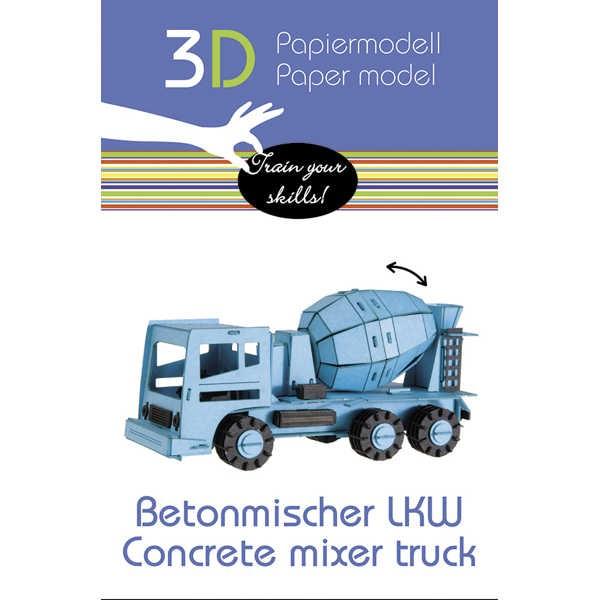 "3D Papiermodell ""Betonmischer LKW"" zum zusammenbauen"