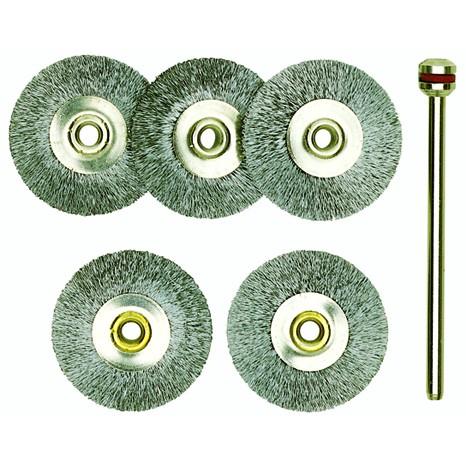 Radbürsten aus Stahl, Ø 22mm, 5 Stück + Spannstift