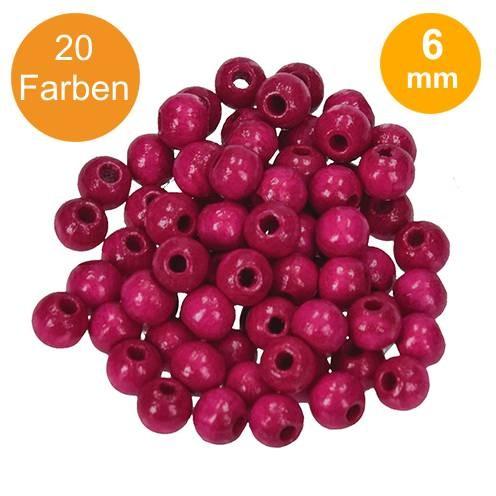 Holzperlen farbig UNI Ø 6,0 mm