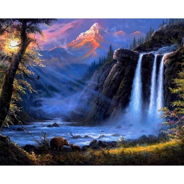 Diamond ART, Daimond Painting 40x50cm, Wasserfall