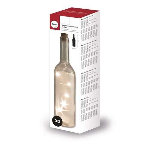 Glas-Leuchtflasche mit Korken 72x300mm