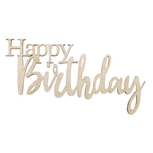 """Holz-Laserschrift """"Happy Birthday"""", 8,5 cm, 4 Stück"""