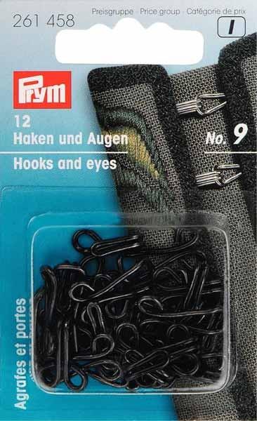 PRYM Joppenhaken und -augen, Nr. 9, schwarz