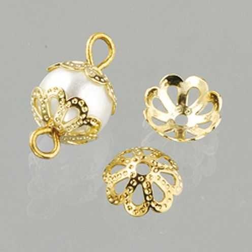 Perlkappen, Schmuckkappen für ø 8 mm Perlen, 30 Stück