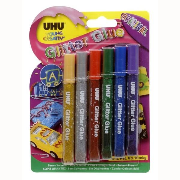 UHU Glitter Glue Original Blister 6x 10ml- ohne Lösungsmittel -