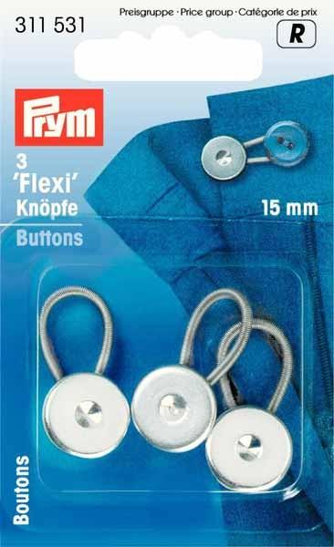 PRYM Flexi-Knöpfe mit Schlaufe, 15mm, 3 Stk.