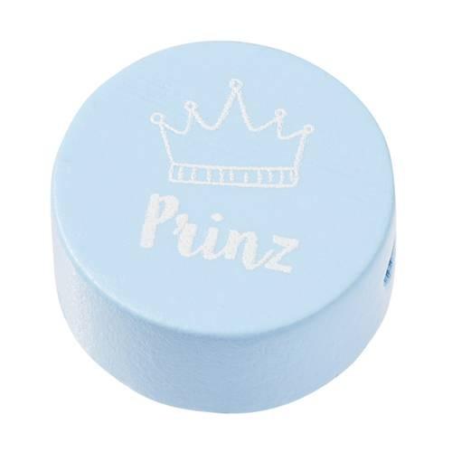 "Holzperle flach hellblau ""PRINZ"""