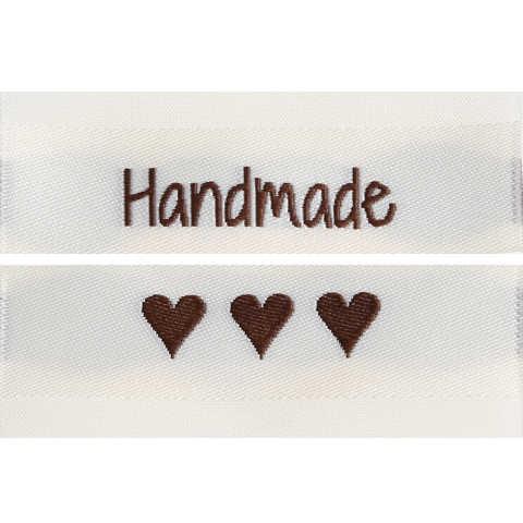 """Stoff-Label Doppelseitig """"Handmade"""" """"3xHerz"""""""
