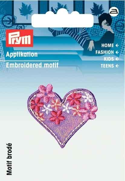 PRYM Applikation Herz, violett mit Blumen