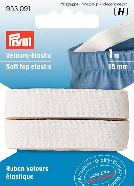 PRYM Velours Elastic Band, 15mm, weiß, 1m