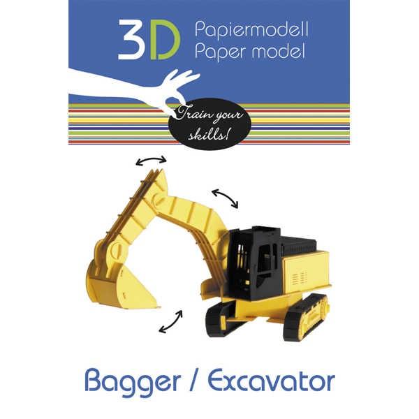 """3D Papiermodell """"Bagger"""" zum zusammenbauen"""