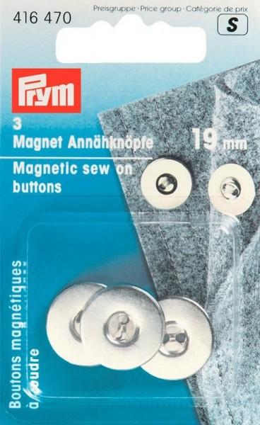 Magnet Annähknöpfe 19mm silberfarbig PRYM 416470