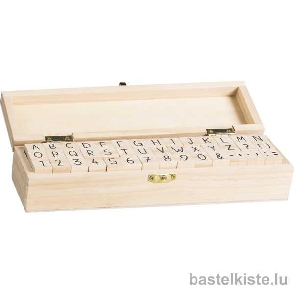 ABC Stempelset, Alphabet in Holzkiste 23 x 6,5 x 5 cm