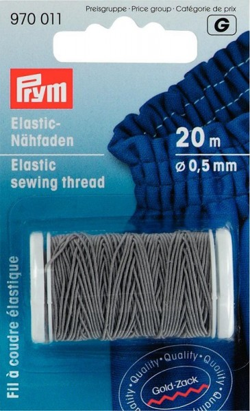Prym Elastic-Nähfaden 0,5mm hellgrau 20m 970011