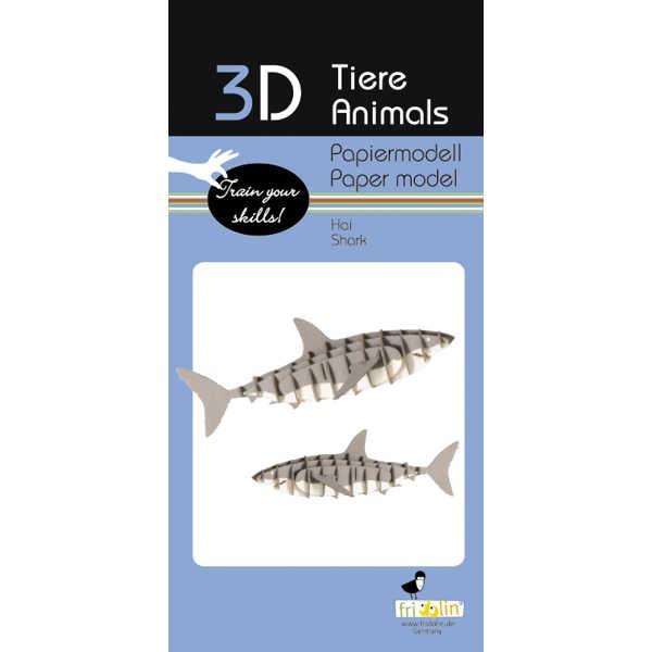 "3D Papiermodell ""Hai"" zum zusammenbauen"