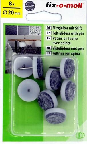 Filzgleiter mit Stift Grau 8x Ø20mm