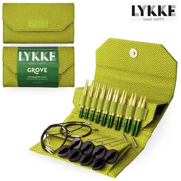 LYKKE Rundstrick-Set GROVE green 3,5-inch Nadeln Stricknadel Holzstricknadeln