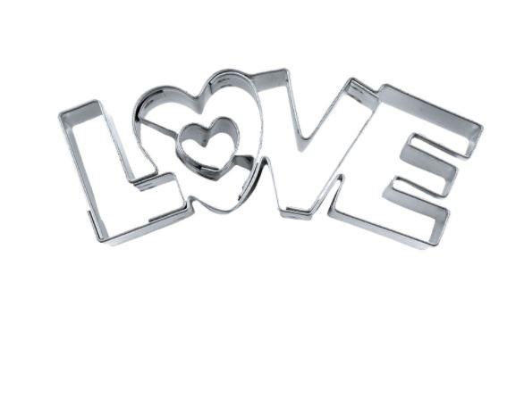 Präge-Ausstechform LOVE 7,5 cm aus Weissblech