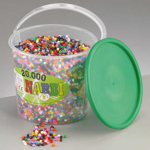 Nabbi® Bügelperlen Eimer 20.000 Stk. Ø 5x5 mm Standard-Mix