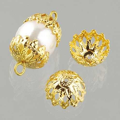 Perlkappen, Schmuckkappen für ø 12 mm Perlen, 12 Stück