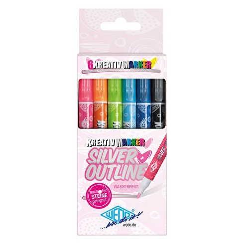 SILVER + OUTLINE, Kreativ Marker 6er Set