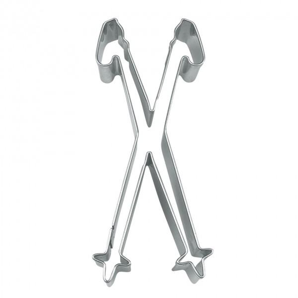 Präge-Ausstechform Ski-Stöcke 10 cm aus Edelstahl