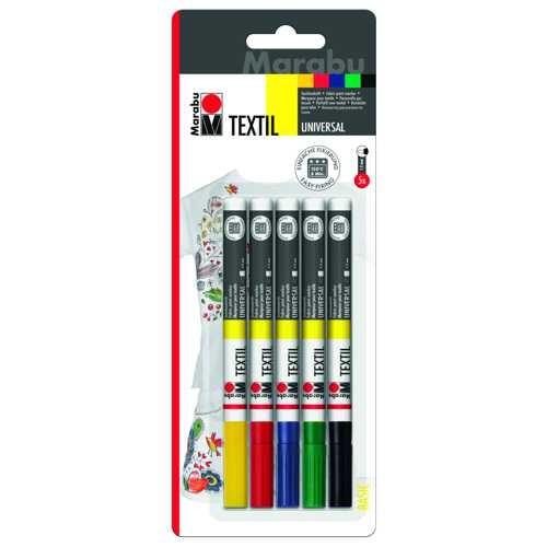 Textil painter, Textilstifte Sortiment mit 5 Stiften Ø 1-2mm