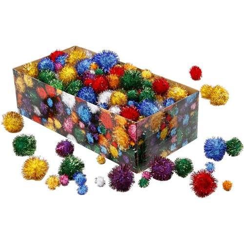 Glitter Pompons Sortiment 400 Stück