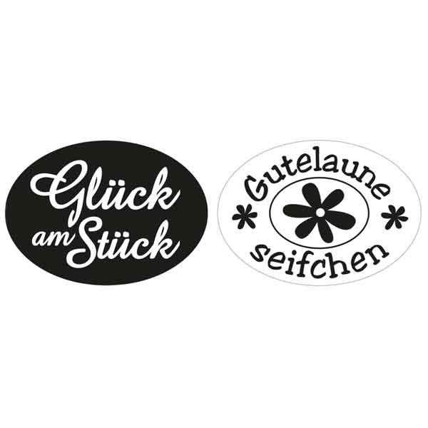 """RAYHER Labels """"Glück am Stück"""", """"Gutelaune Seifchen"""""""