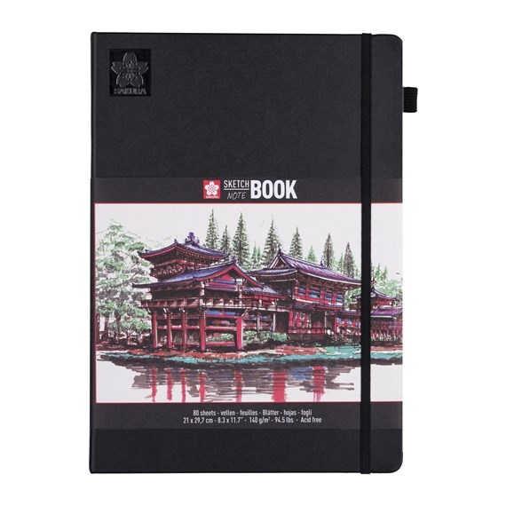 Sakura SKETCH BOOK 21x29,7 cm Schwarz mit 80 Blätter in Cremeweiß, 140g/m² DIN A4