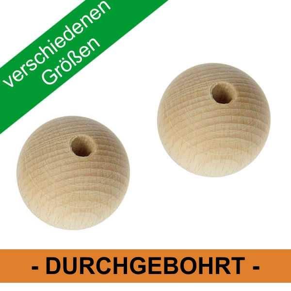 Holzkugeln durchgebohrt ø 6 - 50 mm