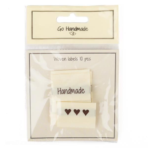 "Stoff-Label ""Handmade""+Herz, doppelseitig"
