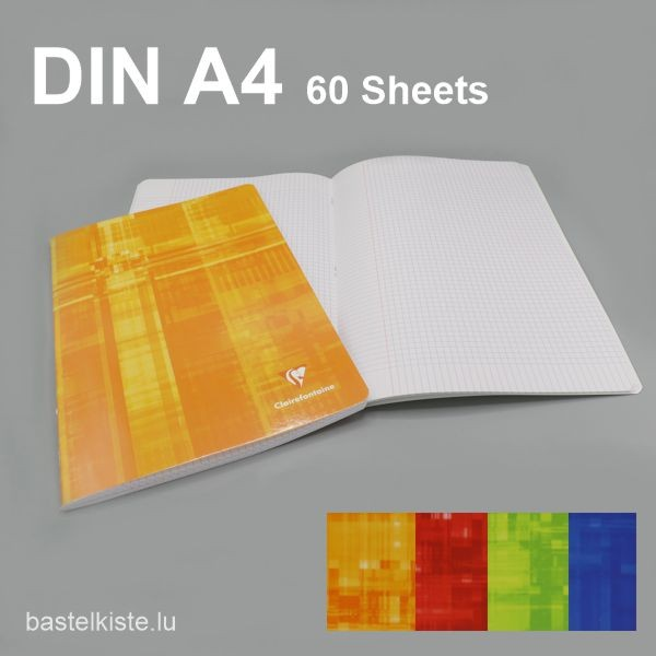 Heft kariert DIN A4 mit Rand dick, in 4 Farben