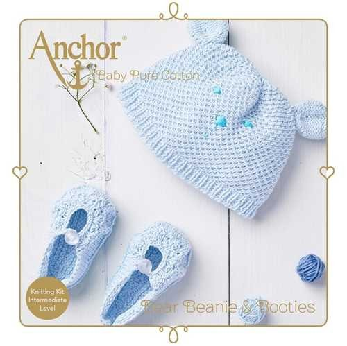 Anchor Bear Beanie & Booties blau