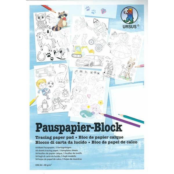 Pauspapier-Block 40g/m², DIN A4, 50 Blatt + 5 Motiv-Vorlagen