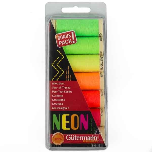 Nähfaden-Set NEON 7 x 100m Spulen von Gütermann